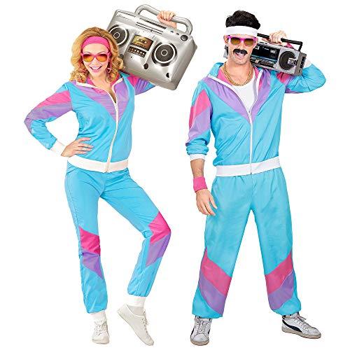 Widmann 9888T - Kostüm 80er Jahre Trainingsanzug, Jacke und Hose, angenehmer Tragekomfort, Assi Anzug, Proll Anzug,...