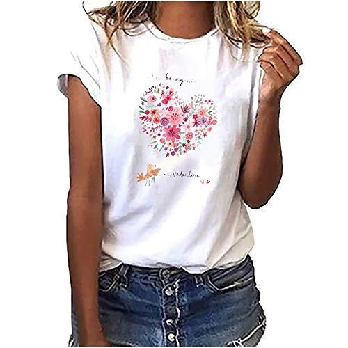 Damen Tshirt Kurzarm Oberteile Sommer Drucken Tee Tops Casual Basic Shirts Mode Rundhals Teenager Mädchen Frauen Hemd...