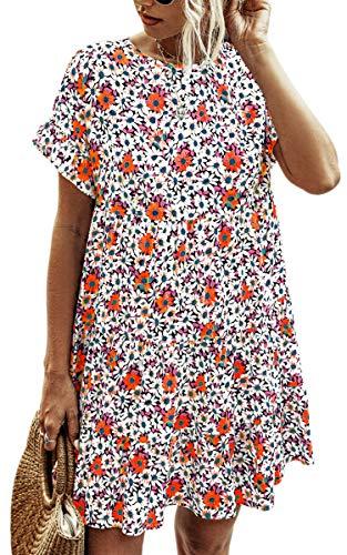 Spec4Y Damen Tunika Kleid Polka Dot Blumen Sommerkleid Kurzarm Rüschenärmel Babydoll T-Shirt Kleider Lose Plissee...