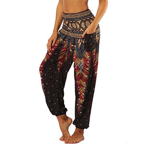 Nuofengkudu Frau Hippie Harems Hose Pumphose Haremshose Aladdinhosen Boho Gemustert Gesmockte Taille mit Taschen...