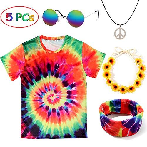 Tacobear Hippie Kostüme für Damen Herren Hippie Brille Hippie Kette Hippie T-Shirt Hippie Blumenhaarband Tie-Dye...