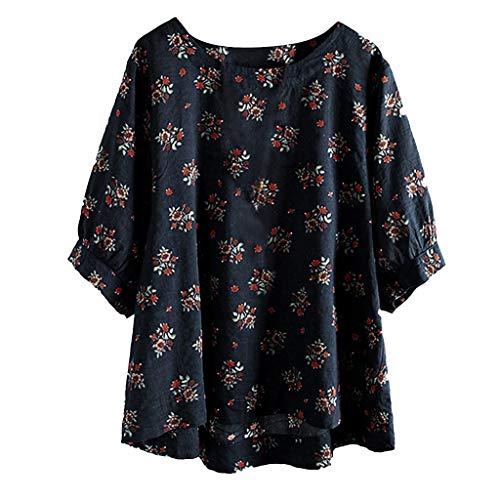 LOPILY Gedruckt Leinen Oberteile Damen Große Größen Geblühmte Boho Hippie Tunika 1/2 Arm Shirts 50 48 46 Freizeit...
