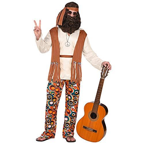Widmann - Kostüm Hippie, Oberteil mit Weste, Hose, Gürtel, Stirnband, Flower Power, Verkleidung, Karneval, Mottoparty