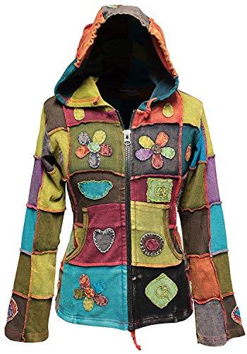 Shopoholic Mode Damen Liebe Frieden Patchwork Hippy Kapuzenpulli Jacke - Multi, XL