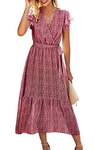 Spec4Y Maxikleid Damen Blumen Lang Kleider Kurzarm V-Ausschnitt Wickelkleid Rüschen Sommerkleider mit Gürtel 2121 Rot...