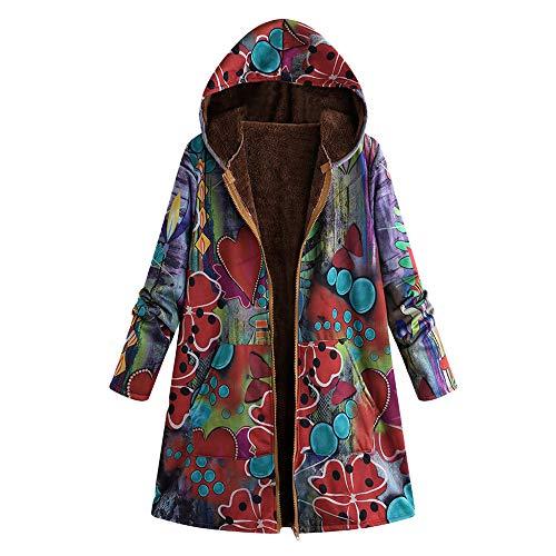 TOPKEAL Jacke Warme Mantel Damen Herbst Winter Sweatshirt Blumendruck mit Kapuze Kapuzenjacke Hoodie Taschen Pullover...