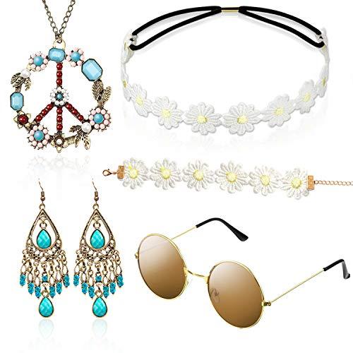 Hippie Kostüm Set mit Sonnenbrille, 5 Stück Hippie Kleidung Damen Herren Accessoires, 60er 70er Jahre Bekleidung, Abba...