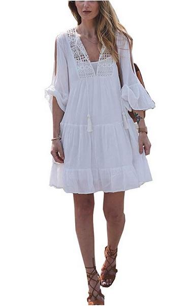 70er Jahre Kleid Hippie Mode Outfit Boho Kleid kurz Damen weiß