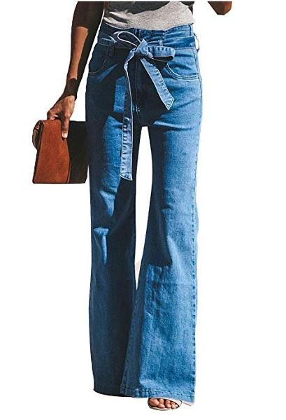 70er Jahre Mode Hippie Jeans Bootcut High Waist Jeans Retro Stil Schlaghose Damen