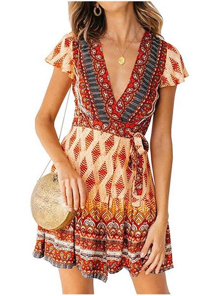 70er Jahre Mode Hippie Kleid Boho Kleid Outfit Damen kurz