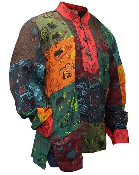 Hippie Mode Herren Männer Hemdn Batik bunt