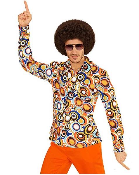 Hippie Outfit Herren Männer 70er Jahre Mode Kostüm Afro Hemd